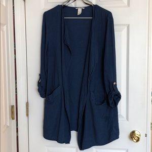 Medium wash chambray open jacket